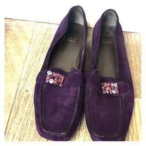Stuart Weitzman purple suede loafers. Size 8 M.